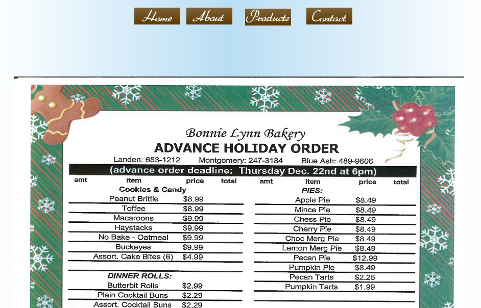 holiday order form, Pies, Cakes, Cookies, Candy, Coffee Cakes and ...